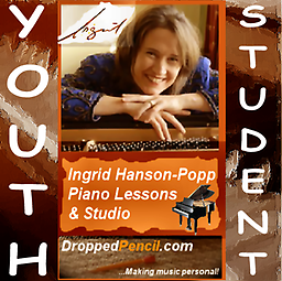 Ingrid Hanson-Popp 30 min. Piano Lesson (for YOUTH Students 17 or younger) Fee payment for a single 30 minute lesson (for YOUTH Students 17 or younger) for Ingrid Hanson-Popp Piano Studio (Dropped Pencil LLC.) (Please PAY ONCE for whole month! Thanks!)
