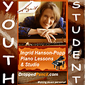 Ingrid Hanson-Popp 30 min. Piano Lesson (for YOUTH Students 17 or younger) - Fee payment for a single 30 minute lesson (for YOUTH Students 17 or younger) for Ingrid Hanson-Popp Piano Studio (Dropped Pencil LLC.) (Please PAY ONCE for whole month! Thanks!)