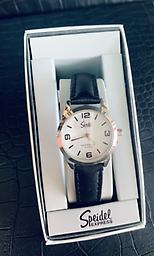 Ladies Speidel Watch Speidel Womans watch with black leather band with buckle clasp