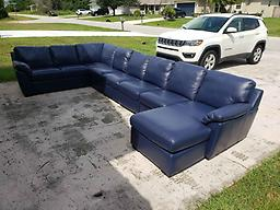 Blue Leather 6pc Chaise Lounge Sofa Sectional Set from Macy's Blue Leather 6pc Chaise Lounge Sofa Sectional Set from Macy's