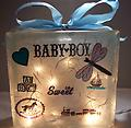 Baby Night Light C - Block is decorated with a baby carriage on the front and boy toddler items on the back. All in blues.