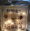 "Baby Night Light H - Block is decorated with baby carriage on the front and ""Baby Boy"" and Trains on the back."