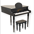 Black Grand Piano - Our Children Grand Piano measures 19 inch tall, with a 9 inch tall sturdy bench for your young virtuoso. 27 notes are chromatically tuned using musical bars instead of strings - never needs tuning