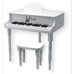 "White Grand Piano Our Children's Grand Piano measures 19"" tall, with a 9""tall sturdy bench for your young virtuoso. 27 notes are chromatically tuned using musical bars instead of strings - it never needs"