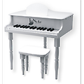 "White Grand Piano - Our Children's Grand Piano measures 19"" tall, with a 9""tall sturdy bench for your young virtuoso. 27 notes are chromatically tuned using musical bars instead of strings - it never needs"