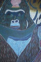 """Gorilla - Set of four note cards in white organza bag This note card set features the piece """"Gorilla"""" by artist Nicholas Gammicchia. For a larger and more detailed imagine of this pastel medium work please visit the Artist Gallery and click the image."""