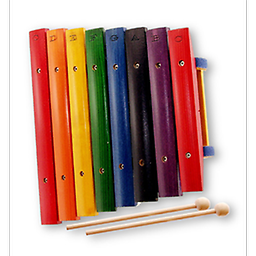 8-Note Wood 1-Octave Xylophone This 8 note, one octave Xylophone has primary colored keys, with 6 learn-by-color song sheets included.