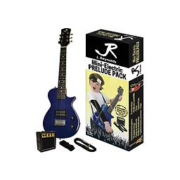 Blue Mini-Electric Guitar Package This Mini-Electric Guitar set features everything you need to get started! The set includes: RMS mini amplifier, Guitar pick, Guitar strap, 10 inch Guitar cable, and full color packaging.