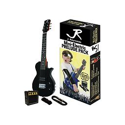 Black Mini-Electric Guitar Package This Mini-Electric Guitar set features everything you need to get started! The set includes: RMS mini amplifier, Guitar pick, Guitar strap, 10 inch Guitar cable, and full color packaging.