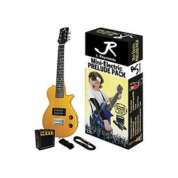 Gold Mini-Electric Guitar Package This Mini-Electric Guitar set features everything you need to get started! The set includes: RMS mini amplifier, Guitar pick, Guitar strap, 10 inch Guitar cable, and full color packaging.