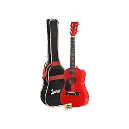 Red Acoustic Guitar Package Due to the smaller scale length of the instrument and the unbeatable price, this guitar is great for beginners or players with smaller hands.