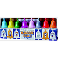 Melodee Bells - 8 brightly colored hand bells are each perfectly tuned (F to F) and are color/letter coded for easy play. Includes song book.