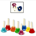8 Note Bell Set - This incredible bell set produces crystal clear music within the scale of C to C. Each bell is brightly painted and includes its corresponding note on each handle