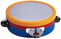 Multi-Colored Tambourine Whether you are shaking or tapping, this plastic headed tambourine is big on sound yet easy to hold and play.
