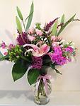 Pretty In Pinks - This beautiful bouquet of Stargazer Lilies, Spray Roses, Stock, Phlox, Heather and Hypericum berries are a great choice to send to someone for an Anniversary, Birthday, or New Baby.