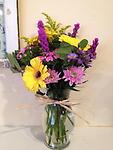 Simple Thanks - Sending flowers is the perfect way to show your appreciation and gratitude. This vase of liatris, gerbera daisies, cushion pomps, sweet william and asters is sure please.