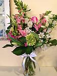 Graceful Moments - This bouquet of hydrangea, snapdragons, campanula, roses and lilies will bring peace and comfort to those in time of need.