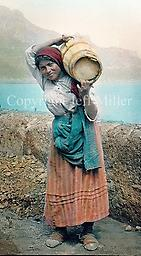 2. Woman carrying wine cask A woman hauls a cask full of wine down to the town of Amalfi, probably to toil back up the steep mountain trails with a return load of charcoal.