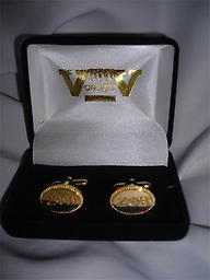 Zeta Gold Cuff Links Oval with letters.