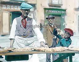1. Pizza Man and Boy Naples: As the birthplace of pizza, Naples had pizza men who slung their tables over their shoulders and traveled the city, selling their creations to passersby.