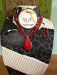 Teardrop Stone Layers Necklace & Earrings Set...Red - Show off your style!!!