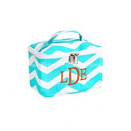 Aqua Chevron Large Cosmetic Bag Travel in style! Stay organized!