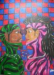 Intimate Colored Pencil Version - Artwork of black love and intimate relationships. A young couple deeply in romantic love.