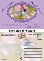 """HH1314PC Greetings from Beautiful California Postcard Showcases a beautiful male Costas Hummingbird in flight with flowers behind him. The front says: """"This is the day that the Lord has made; let us rejoice and be glad in it."""" Psalm 118:24 ESV"""