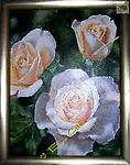 """LIGHTEN UP ROSES - Acrylic, 18"""" x 24"""" THESE STUNNING WHITE ROSES WITH HEARTS OF PEACH WILL LIGHT UP YOUR HOME WITH BEAUTY"""