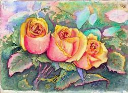 """DREAM OF PEACE ROSES Watercolor 14""""x11"""" PINK AND GOLD ROSES NESTLE IN DELICATELY MULTICOLORED FOLIAGE"""
