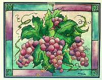 """GLASSY GRAPES Watercolor 11""""x14"""" DAYLIGHT GLOWS THROUGH A STAINED GLASS WINDOW IN VIVID TRANSPARENT COLOR."""