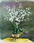 """STEPHANOTIS - Watercolor 13.5""""x10"""" DELICATE WHITE FLOWERS FAN OUT FROM A BRASS POT"""