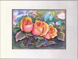 """Dream of Peace Roses PRINT PRINT 8""""x10"""" Affordable version of this delightful image of three pink and gold roses nestled in pastel foliage. MATTED AND FRAMED UNDER GLASS (11"""" x 14"""")"""