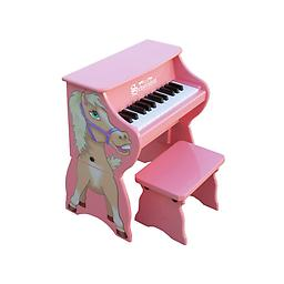 25 Key Toy Piano w/Bench - Pink Horse This little piano is so versatile it grows with your child! The main unit, decorated with a whimsical animals head, is perfect for toddlers.