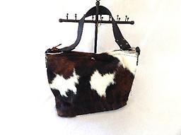 Leather Cowhide Purse - White and Brown 100% Leather Cowhide Purse