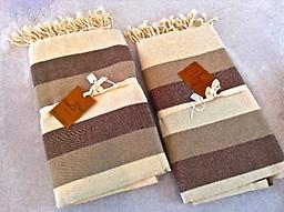 Large Scents & Feel Fouta Towel - Cream, Tan and Brown Stripes 100% Cotton , Can double as a tablecloth, shawl, beach towel etc. New product trend