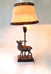 Bronze Buck Accent Lamp Bronze and Canvas Buck Desk Lamp, Unique Leather Trim on Canvas Shade with Brass Nail Head Studs