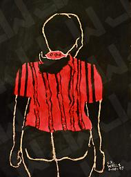 Woman in Red Shirt (Prints Only) Abstract, Acrylic on Paper, print