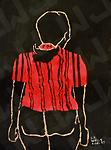 Woman in Red Shirt (Prints Only) - Abstract, Acrylic on Paper, print