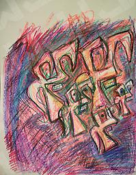 Hungry Again! (Original Sold)-prints only Abstract, Crayon on Paper, 17x22-prints only 11x14, $40