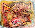 Psychotic Fish (SOLD)-prints only - Abstract, Crayon on Paper, 22x17-prints only 11x14, $40