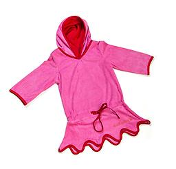 Ducksday Summer Beach Poncho - Pink/Red Ducksday Beachwear is 100% cotton terry with cotton lining. A coordinating and absorptive cover-up with a hood. Available in sizes 2, 4, and 6.