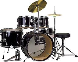 CB Drums 5 Piece Junior Drum Set The perfect drum outfit for your little one! Comes complete with cymbals, throne, bass drum pedal, floor tom and hi-hat.
