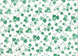 """B9- GREEN IVY (F0235) Deluxe Flannel Back Vinyl Tablecloth. Order by the roll which is 54"""" wide x 15 yards long. The material is reusable and durable for both indoor and outdoor use"""