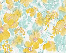 """BC16- Yellow Floral (F0221) Deluxe Flannel Back Vinyl Tablecloth. Order by the roll which is 54"""" wide x 15 yards long. The material is reusable and durable for both indoor and outdoor use"""