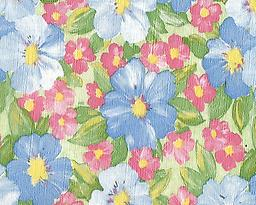 """BC23- Blue Rose Floral (F0220) Deluxe Flannel Back Vinyl Tablecloth. Order by the roll which is 54"""" wide x 15 yards long. The material is reusable and durable for both indoor and outdoor use"""