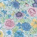 "BC14- Pastel Bouquet - Deluxe Flannel Back Vinyl Tablecloth. Order by the roll which is 54"" wide x 15 yards long. The material is reusable and durable for both indoor and outdoor use"